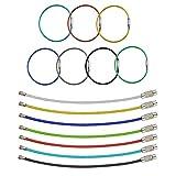 FOGAWA 21Pcs Alambre Llavero de Acero Inoxidable 7 Colores Anillas Llaveros Metalicos Llavero Cable con Sistema de Bloqueo Llaveros para Llaves Maleta Etiqueta Mochila