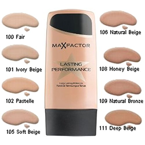 MAX FACTOR Lasting Performance Face Foundation Make Up, Over 10 Different Cosmetic Shades Poducts To Choose From - (106 Natural Beige, 1 PACK)