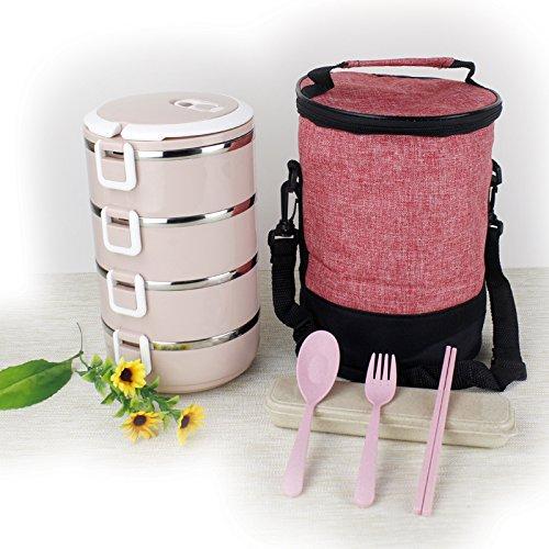 Luckyfree Lunchbox Scatola di pranzo in acciaio inossidabile gli studenti circolare pic-nic per adulti Bento Boxes 4 strato ,Four-Storey rosa+sacchetti+stoviglie The four-storey pink+Bags+Tableware