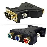 3 RCA YUV RGB Vídeo Femenino Para HD15-Pin VGA de video por componentes Adaptador de enchufe para paquete de 2