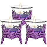 Cocodoes Tlight Candle With Purple Crown Candle Stand Holder Set Of 3 For Birthday Anniversary Hotel Spa Christmas Diwali