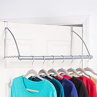 Over the Door Closet Rod - Multifunctional Over the Door Clothes Organizer Rack and Door Hanger for Clothing or Towel, Home and Dorm Room Storage and Organization