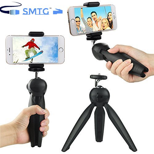 SMTG Universal Mini Tripod for Digital Camera and All Android iPhone Samsung Lenovo Micromax Oppo Vivo Moto One Plus Xiaomi (Black)