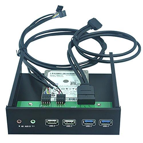 Dshot® 5.25 Inch Front Panel USB Hub internal Bracket Hub Combo - With 2x USB 3.0 Ports & 2x USB 2.0 Ports & 1x HD AUDIO port Front Panel-pc