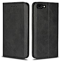 DENDICO Case for Apple iPhone 7 Plus/iPhone 8 Plus, Classic Leather Wallet Case Flip Notebook Style Cover with Magnetic Closure, Card Holders, Stand Feature - Black