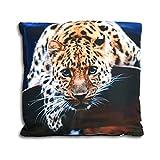 (350) Dekokissen Wildtiere Sofakissen Tiere Kissen gefüllt ca. 40x40 cm Wald ((350) Leopard)