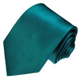 LORENZO CANA - Uni Petrol farbene Marken Krawatte aus 100% Seide - türkise Seidenkrawatte - 84441