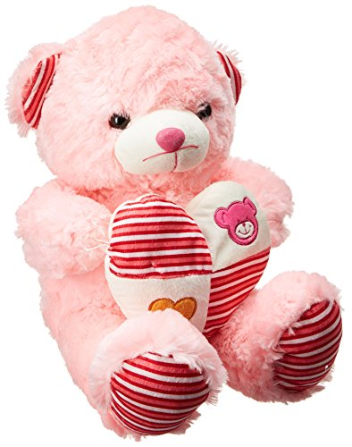 Dimpy Stuff 6006A Bear with Heart, Off pink (40cm)  available at amazon for Rs.345