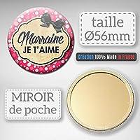 Marraine je t'aime Miroir de poche 56mm ( Idée Cadeau Baptême Communion Noël )