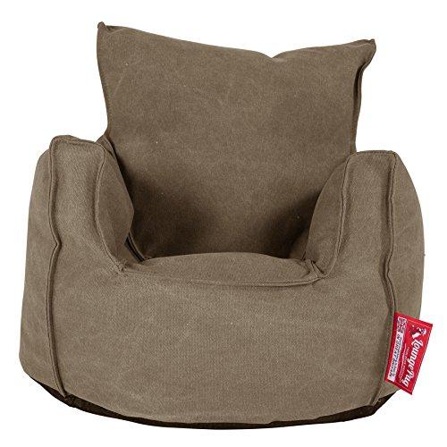 Lounge Pug, Kindersessel Sitzsack, Sitzsack Kinder, Stonewashed-Stoff Erde