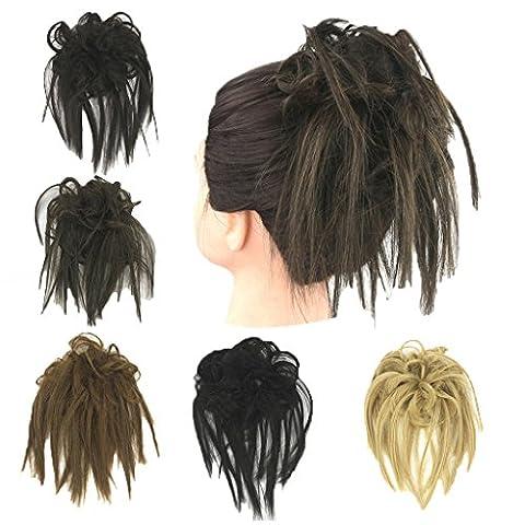 Prettywit Bicolore dégradé bouclés extension de cheveux Accessoires pour femme Plat Messy Chignon de cheveux raides Extensions Donut Cheveux Chignon Perruque de cheveux Chouchou Cordon Cheveux chignons (Noir 2)