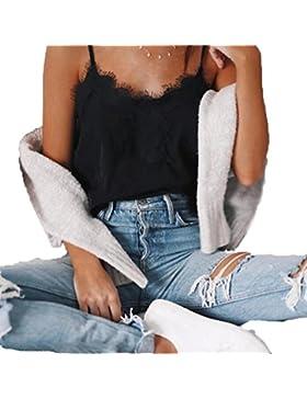 Baymate Mujeres Atractivo Encaje Camiseta de Tirantes Chaleco de Verano Crop Top Blusa Sin Mangas