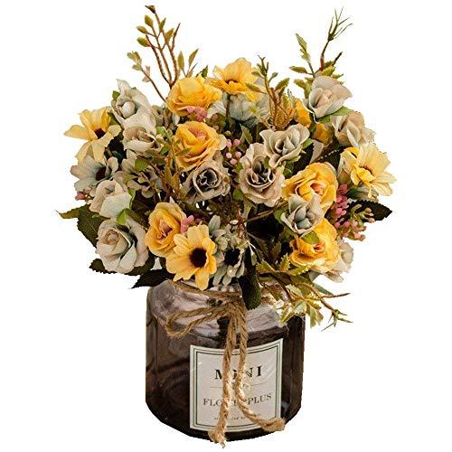 Jnseaol fiori artificiali fiori artificiali fiori finti fai da te soggiorno camera da letto davanzale decorazione della festa di nozze decorazione vaso di vetro regalo di festa giallo -43