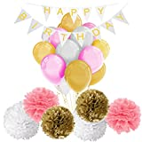 Happy Birthday Decorations Banner with Tissue Pom Poms Flowers and Latex Party Balloons by Paxcoo