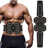 LOFFU Electroestimulador Muscular Abdominales, Masajeador Eléctrico Cinturón, Entrenador Inalámbrico Portátil de 6 Modos de Simulación, 10 Niveles Diferentes para Abdomen/Cintura/Pierna/Brazo