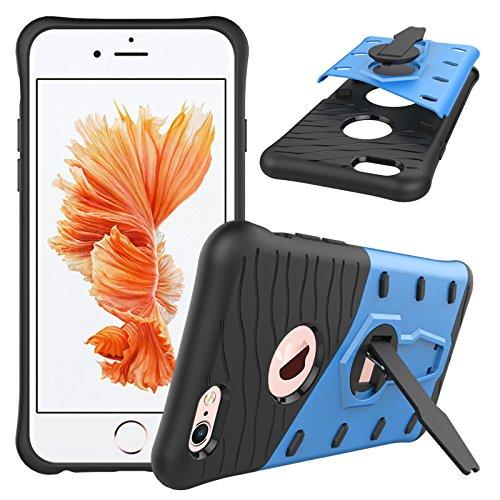 Qiaogle Téléphone Coque - Shock Proof TPU + PC Hybrid Stents Housse Case pour Apple iPhone 7 (4.7 Pouce) - CD03 / Noir & Rouge HH04 / Noir