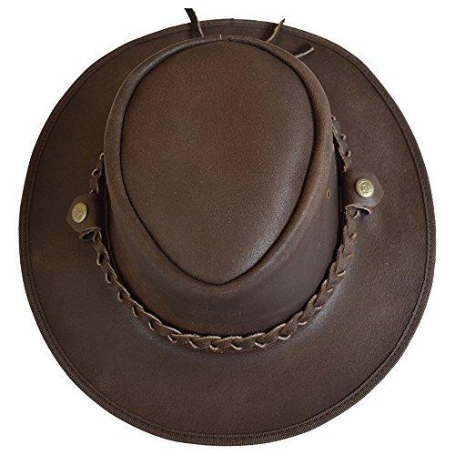 AQWA Western Cow Boy-Berretto Bush-Cappello da Cowboy in pelle bovina, con cinturino