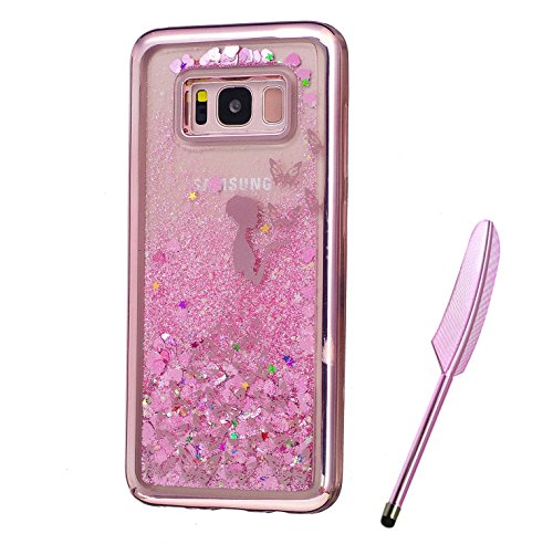 Galaxy S8 Plus Case, Pink Plating Design, Edaroo 3d Cool Flowing Liquid Bling Sparkle Pink Hearts Glitter Style Beautiful Butterfly Fairy Girls Pattern Slim Thin Fits Soft Rubber TPU Bumper Protective Case Cover for Samsung Galaxy S8 Plus