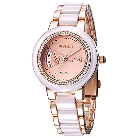 WEIQIN Alloy and Plastic Strap Womens Watch with Rhinestone Bezel and Rivets Scale and Note Decoration Surface Quartz (Rose gold)