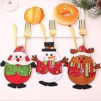 VSTON Navidad Vajilla Tenedor Tenedor Bolsillos Juego de decoración de Cena Cuchillo Tenedores Bolsas para Navidad Regalo de Fiesta Cocina Casa Casa Papá Noel Adornos de muñecos de Nieve, 3 Paquetes