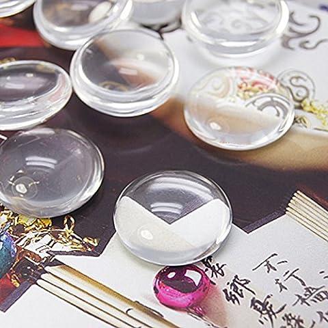 10 x Transparent Glas Cabochons, Gewölbt, Dichtungen, Fliesen, Halbrund, Rund, Flach, 12 mm Perlen Und Charms