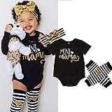 douleway Baby Mädchen MINI LOVE MAMA Kurzarm oben Hemd + Zebra Gestreift Hose Socken mit Stirnband Bodysuit