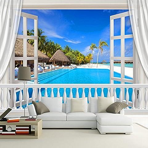 Sproud Benutzerdefinierte Wandbild Fototapete stereoskopischen 3D-Fenster Malediven Landschaft Wandbilder Wohnzimmer Tv Hintergrund der modernen Malerei 250 cmX 175