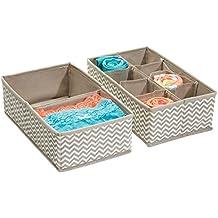 mDesign Cajas almacenaje juego de 2 – 2 Cajas organizadoras con un total de 10 compartimentos – Cajas almacenaje ropa en plástico – Color: topo/natural