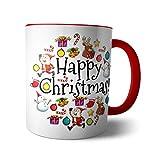 Kaffee-Becher - Tasse 'Weihnachten' / X-Mas | Merry Christmas | Frohes Fest, Design 4, Farbe:Rot