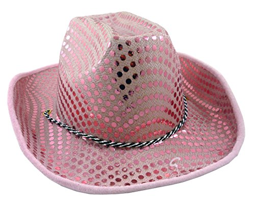 Rosa Sequin Damen Cowboy Hat - Hen Night Zubehör - Abendkleid - ()