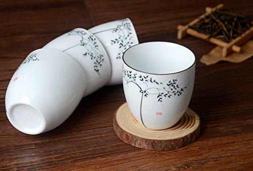 HwaGui4 Stück chinesischen Porzellan Tasse Set Hand bemalte Baum Design, traditionelle Keramik Tassen Handwerk als Geschenk (Porcelain Box Floral)