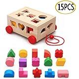 OMZGXGOD Cube De Tri De Formes, Jeu Cubes en Bois, Boite a Forme Bois avec 15 Formes de Blocs de Bois pour Enfants Boîte de R