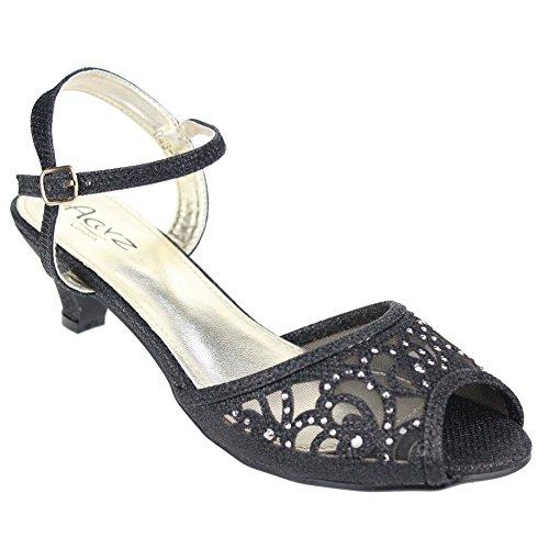 Aarz Femmes Mesdames Soirée Party Mariage Low Kitten Heel Peep Toe Diamante Sandal Chaussures Taille (Or, Argent, Champagne, Noir, Gris, Bleu) Noir