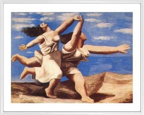 1art1 Pablo Picasso Poster Kunstdruck und Kunststoff-Rahmen - Laufende Frauen Am Strand (50 x 40cm)