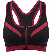 Wenquan,Mujeres Corriendo Gimnasio Fitness Cómodo A Prueba de choques Cremallera Frente Yoga Sujetador Top Push Up Camisa(Color:Rojo con Negro,Size:Metro)