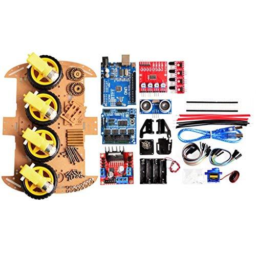 Kineca 4-Rad-intelligentes Roboter-Auto Chassis Kits HC-SR04 Sonic-Tracking-Modul DIY-Tool kompatibel für Arduino Tilt-modul