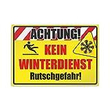 Kiwistar Achtung! Kein Winterdienst Rutschgefahr Parkplatzschild Alu Verbund kein PVC! - 30 x 21cm