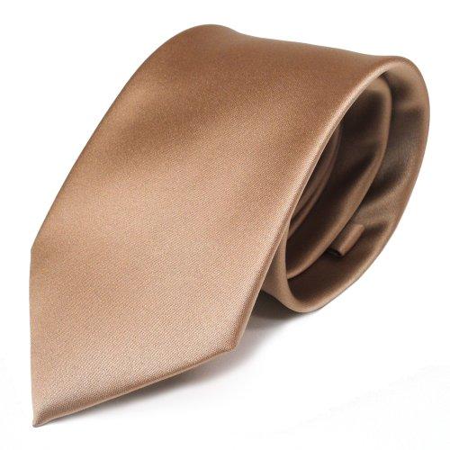 TigerTie Designer Satin Krawatte gold uni Polyester - Tie Binder Schlips -