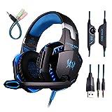 Globalcrown Casque Gamer, écouteurs stéréo de jeu d'ordinateur pour PS4, Mac,PC, Xbox One, bruit annulant des écouteurs de dessus d'oreille avec le micro, lumière de LED, encadrement de basse, oreilles de mémoire douces