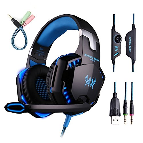 Globalcrown Auriculares de juego, auriculares de juego de ordenador para auriculares estéreo PS4, Mac, Xbox uno, cancelación de ruido auriculares over-EAR con micrófono, luz LED, bajo envolvente, orejeras de memoria suave
