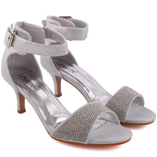 Unze Femmes 'Dawn' Diamante Embellie Peep-Toe Mi-Haut talon aiguille Soirée Soirée Carnaval Rejoindre Brunch Mariage Talon Sandales Court Chaussures Taille 3-8 Argent