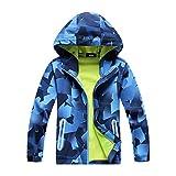 Kinder Tops Mantel Jacke Wasserdichte atmungsaktive Outdoor-Fleecejacke für Jungen. Warme Snowboard-Skijacke (Farbe : Square, Größe : 5-6 Years)