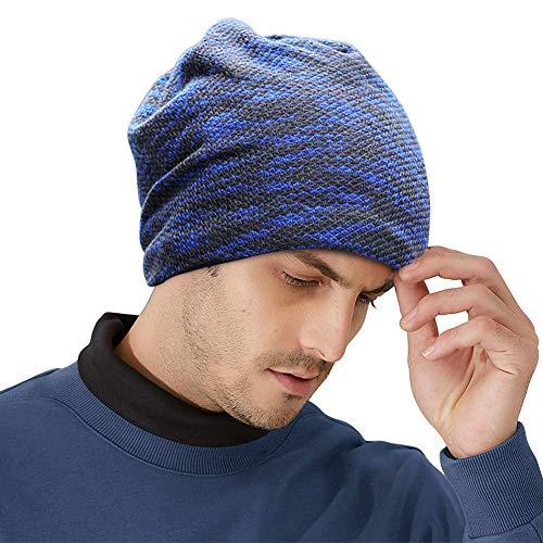 Slouch Mütze Hut Baggy Skull Cap Mütze mit Warm gefüttert Unisex Retro Slouchy übergroßen Ski Wintermütze (Marine)