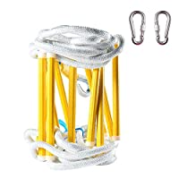 YANWE 5-20 Meters Outdoor Rope Ladder,Emergency Fire Escape Ladders - Soft Safety Ladder with Carabiners for Kids and Adults Escape from Window and Balcony