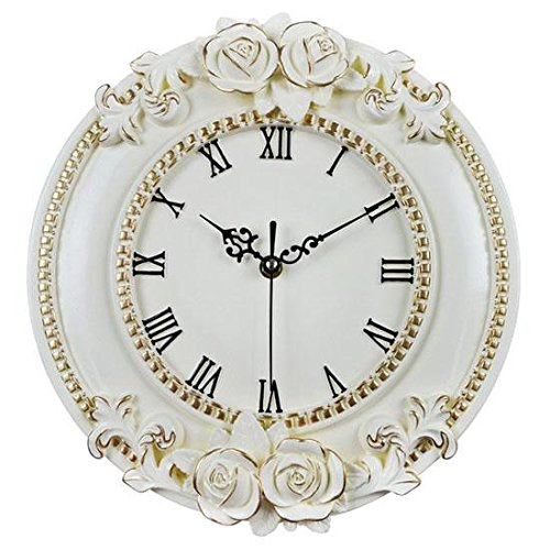 Horloge murale - 12 pouces décoration de la maison contour en or rose fleur Silent Quartz horloge murale (Acheter cadeau quatre Cupidon)
