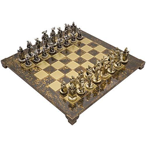 Manopoulos The Mittelalterliche Ritter Luxus Schach-Set mit Holzkiste
