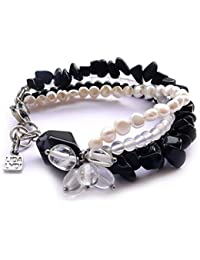 Pulsera: ágata, Onyx, Cristal, roca de perlas auténticas de cultivo de agua douce. amarre, Hebilla de acero.