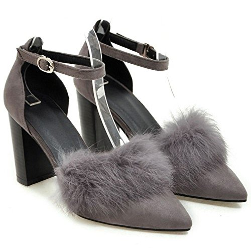 COOLCEPT Damen Mode Pointed Toe D' Orsay Blockabsatz Pumps Sandalen Grau