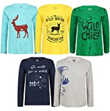 Elk Kids Boys Cotton Printed Full Sleeve T-Shirts Pack of 5 Grey Yellow