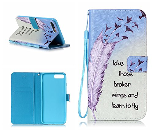 Cover iPhone 7 Plus,iPhone 8 Plus Coque,Valenth [Pu Leather] Portefeuille Coque Etui [Stand Feather] Flip Coque avec embouts pour iPhone 8 Plus / iPhone 7 Plus 6#